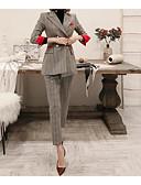 ieftine Curele la Modă-Pentru femei Sfârșit de săptămână De Bază Regular Costume, Carouri Guler Cămașă Manșon Lung Poliester Gri M / L / XL