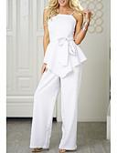 זול חליפות שני חלקים לנשים-ללא שרוולים L XL XXL אחיד, סרבלים רגל רחבה לבן כתפיה בגדי ריקוד נשים / סקסית