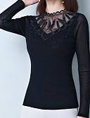 hesapli Bluz-Kadın's İnce - Bluz Örümcek Ağı / Dantel Trim, Solid Temel Siyah