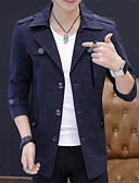 cheap Men's Jackets & Coats-Men's Going out Spring &  Fall Plus Size Regular Jacket, Solid Colored Fold-over Collar Long Sleeve Polyester Navy Blue / Wine / Khaki XXL / XXXL / XXXXL