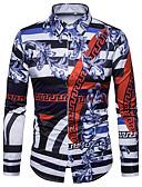 cheap Men's Shirts-Men's Club Vintage / Street chic / Punk & Gothic Plus Size Slim Shirt - Color Block Print / Long Sleeve