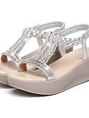 ieftine Tricou-Pentru femei Sandale Platformă PU Vară Sandale Toc Platformă Vârf rotund Piatră Semiprețioasă Argintiu