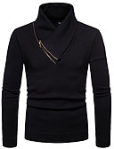 cheap Men's Sweaters & Cardigans-Men's Daily Solid Colored Long Sleeve Slim Long Pullover, Stand Black / Army Green / Light gray L / XL / XXL