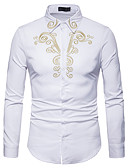 cheap Men's Shirts-Men's Work Business / Basic Slim Shirt - Solid Colored / Color Block Embroidered White L / Long Sleeve