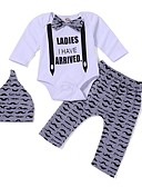 billige Sett med Gutter babyklær-Baby Gutt Aktiv / Grunnleggende Daglig / Sport Blomstret Langermet Lang Lang Bomull / Polyester Tøysett Hvit