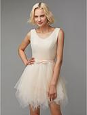 preiswerte Brautjungfernkleider-A-Linie V-Ausschnitt Knie-Länge Tüll Brautjungfernkleid mit Schleife(n) durch LAN TING BRIDE®
