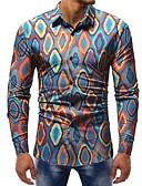 ieftine Tricou Bărbați-Bărbați Cămașă Muncă Bumbac De Bază - Floral / Bloc Culoare / Manșon Lung