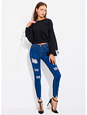 tanie Koszula-Damskie Podstawowy / Wyrafinowany styl Bluza dresowa - Solidne kolory, Wiązanie