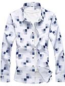 baratos Camisas Masculinas-Homens Camisa Social Básico Estampado, Xadrez