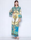 povoljno Ženske haljine-Žene Vintage / Ulični šik Kaftan Haljina - Print, Cvjetni print Maxi