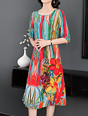 abordables Robes Imprimées-Femme Sortie Midi Tunique Robe - Imprimé, Fleur Eté Rouge XL XXL XXXL Coton Demi Manches