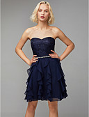 cheap Prom Dresses-A-Line Sweetheart Neckline Short / Mini Chiffon / Lace Cocktail Party Dress with Beading / Cascading Ruffles by TS Couture®