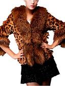 preiswerte Kleider für besondere Anlässe-Damen Alltag Grundlegend Herbst Winter Kurz Pelzmantel, Leopard Gefaltete Kragen 3/4 Ärmel Kunst-Pelz Braun XL / XXL / XXXL