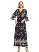 cheap Maxi Dresses-Women's Beach Maxi Slim Sheath Dress V Neck Black M L XL