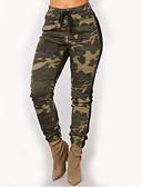 abordables Pantalones para Mujer-Mujer Pitillo Chinos / Pantalones de Deporte Pantalones - camuflaje Alta cintura Amarillo