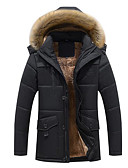 cheap Men's Downs & Parkas-Men's Going out Solid Colored Regular Padded, Polyester Long Sleeve Winter Hooded Black / Camel / Khaki XXXXXL / XXXXXXL / 8XL