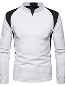 cheap Men's Tees & Tank Tops-Men's T-shirt - Color Block Stand / Long Sleeve