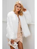 abordables Chalecos-Abrigo de pieles de piel sintética para mujer - cuello en color sólido