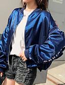 ieftine Tricou-Pentru femei Ieșire Regular Jachetă, Scrisă Rotund Manșon Lung Poliester Albastru piscină / Roșu-aprins M / L / XL