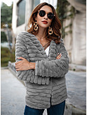 abordables Abrigo y Gabardinas de Mujer-Mujer Básico Abrigo de Piel Un Color