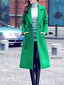 cheap Women's Coats & Trench Coats-Women's Daily / Going out Street chic / Sophisticated Winter Maxi Coat, Color Block Fold-over Collar Long Sleeve Polyester Pleated / Patchwork Green / Red XL / XXL / XXXL