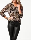 ieftine Bluze Damă-Pentru femei În V Bluză Ieșire Leopard / Bloc Culoare / Zvelt