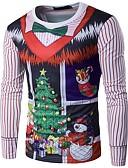 abordables Camisetas y Tops de Hombre-Hombre Navidad Camiseta, Escote Redondo Geométrico / Manga Larga