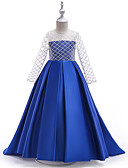 cheap Junior Bridesmaid Dresses-Kids Girls' Basic / Sweet Party / Going out Solid Colored Long Sleeve Asymmetrical Cotton / Polyester Dress Blue 7-8 Years(140cm)
