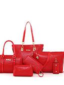abordables Cuerpos sexyr-Mujer Bolsos PU Conjuntos de Bolsa Set de 6 piezas de monedero Cremallera Rojo / Beige / Morado