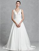 olcso Szalagavató ruhák-Hercegnő V-alakú Kápolna uszály Szatén Made-to-measure esküvői ruhák val vel Ráncolt által LAN TING BRIDE®