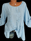 cheap Women's Blouses-Women's Shirt - Solid Colored / Floral Embroidered
