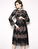 cheap Women's Dresses-Women's Holiday / Going out Sophisticated / Elegant A Line Dress - Solid Colored Lace Fall Black XL XXL XXXL