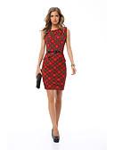 baratos Vestidos Estampados-Mulheres Vintage / Elegante Delgado Calças - Estampa Colorida Cordões Cintura Alta Vermelho / Festa / Para Noite