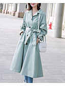 cheap Women's Wool & Wool Blend Coats-Women's Work Long Trench Coat, Solid Colored Shirt Collar Long Sleeve Polyester Light Green M / L / XL