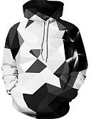 お買い得  メンズフーディー&スウェットシャツ-男性用 ルーズ パンツ - 幾何学模様 ホワイト / フード付き / 長袖