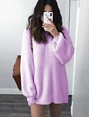 hesapli Sweater Dresses-Kadın's Büyük Bedenler Temel Sokak Şıklığı Pamuklu Salaş Kılıf Örgü İşi Elbise - Solid Mini Gül kurusu