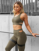 cheap Bikinis-Women's Cut Out Yoga Suit Black Army Green Blue Sports Spandex Pants / Trousers Bra Top Clothing Suit Zumba Dance Running Activewear Anatomic Design Compression Sweat-wicking 4 Way Stretch High