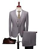 preiswerte Anzüge-Solide Reguläre Passform Polyester Anzug - Fallendes Revers Einreiher - 1 Knopf