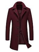זול גברים-ג'קטים ומעילים-צמר בגדי ריקוד גברים שחור כחול נייבי יין XL XXL XXXL מעיל ארוך חיות מופלאות אחיד / שרוול ארוך / חורף