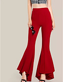 povoljno Maxi haljine-Žene Ulični šik Flare Hlače - Jednobojni Visoki struk Pamuk Crn Red Vojska Green XL XXL XXXL