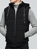 cheap Men's Hoodies & Sweatshirts-Men's Going out Solid Colored Regular Vest, Polyester Sleeveless Hooded Red / Navy Blue / Army Green L / XL / XXL