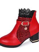 tanie Damskie szaliki-Damskie Fashion Boots PU Zima Botki Masywny obcas Okrągły Toe Kozaczki / kozaki do kostki Czarny / Czerwony