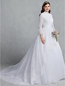 olcso Menyasszonyi ruhák-Hercegnő Magasnyakú Kápolna uszály Csipke / Tüll Made-to-measure esküvői ruhák val vel Gombok / Csipke által LAN TING BRIDE®