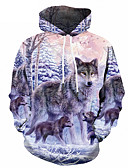 cheap Men's Shirts-Men's Plus Size Sports Street chic / Punk & Gothic Long Sleeve Hoodie - Color Block / 3D Wolf, Print Hooded Rainbow 4XL / Spring / Fall