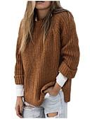 abordables Jerséis de Mujer-Jersey holgado de manga larga para mujer - cuello redondo de color liso