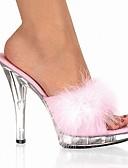 hesapli Bornozlar ve Pijamalar-Kadın's Ayakkabı PVC Yaz Klasik Terlik & Flip-flops Kristal Topuk Burnu Açık Parti ve Gece için Kristal / Tüy Siyah / Kırmzı / Pembe