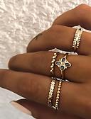 olcso Női pulóverek-Női Retro Ujjperc gyűrű Gyűrű készlet Több ujjas gyűrű - Gyanta, Hamis gyémánt Lóhere Vintage, Punk, Boho 8 Arany / Ezüst Kompatibilitás Ajándék Napi Utca / 5pcs
