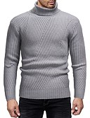 cheap Men's Sweaters & Cardigans-Men's Daily Basic Solid Colored Long Sleeve Slim Regular Pullover, Turtleneck Fall / Winter Black / Dark Gray / Light gray L / XL / XXL