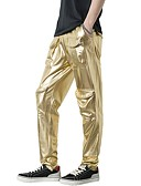 cheap Men's Pants & Shorts-Men's Basic / Street chic Bootcut / Chinos Pants - Solid Colored / Leopard Gold / Party / Club