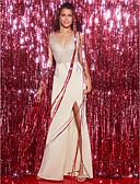 זול שמלות ערב-מעטפת \ עמוד צווארון V / סטרפלס עד הריצפה סאטן נמתח ערב רישמי שמלה עם חרוזים על ידי TS Couture®